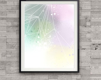 Pastel art print, Asbtract pastel print, soft colours, modern, home wall decor, geometric illustration, apartment decor, gift, colourful,