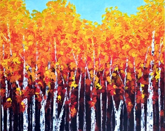 Fall Painting, Abstract Landscape, Birch Painting, Palette knife Aspen Forest, Acrylic Impasto Texture Painting, Modern wall art California