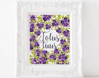 Totus tuus Print, Totus tuus Printable, Catholic print, catholic printable, catholic art, catholic decor, Marian print, Marian printable