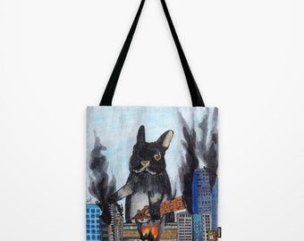 Bunny Destroys City tote bag