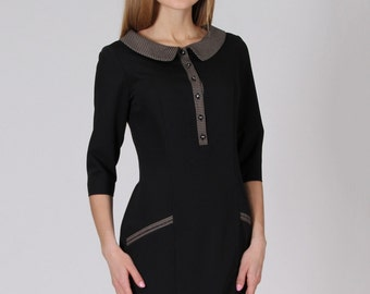 Little Black Dress Decoration Plaid Formal Dress Bodycon Collar Peter Pan Short Dress With Pockets And Sleeves Casual Office Dress.