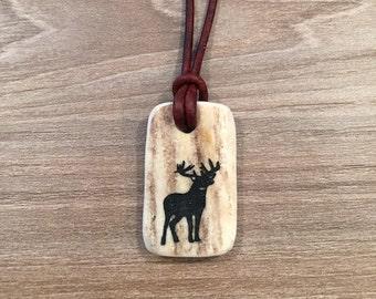 "Deer silhoutte leather deer antler necklace ""Antler Jewelry"""