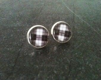 Plaid earrings, checkered earrings, rockabilly earrings, black and white, retro stud earrings, 50's jewelry, gift idea, funny earrings