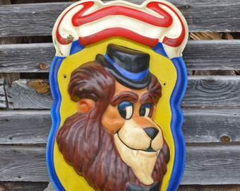 Vintage Carnival Carousel Sign Dimensional Cartoon Lion On A Shield