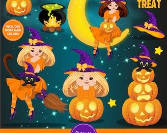Halloween clipart, Halloween witch clipart, Girl clipart, Halloween pumpkin clipart, Commercial  use - CA477