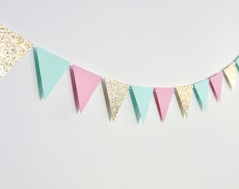 Pink Mint Gold Flag Bunting, Paper Garland, Birthday Party Decor, Wedding Decor, Shower Decor, Nursery