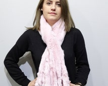 Real Rabbit Fur, Long Scarfs fur, Wrap fur, Scarves fur,fur pink