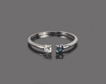 Midi ring, Dual birthstone ring, Personalized ring, Silver midi ring, Stacking ring, Gemstone ring, Birthstone ring, Custom stone ring