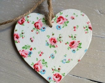 Wooden Heart Bunting,  Decoupage, Garland, Floral, Room Decor