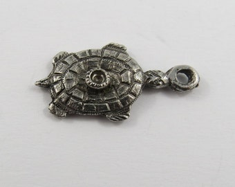Turtle with Missing Stone Sterling Silver Charm or Pendant.