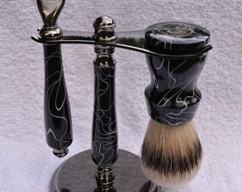 Beautiful Handmade 3 Piece Shaving Set With SilverTip Badger Shaving Brush