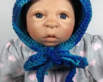 Hand Crochet Newborn-3 Months Infant Varigated Blue Pixie Hat