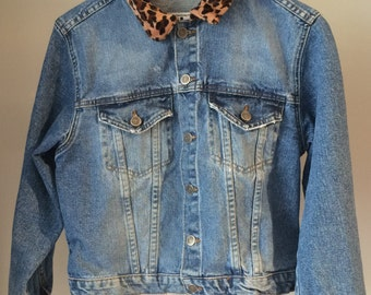 Vintage L.E.I Recycled Denim Jacket with Leopard Collar