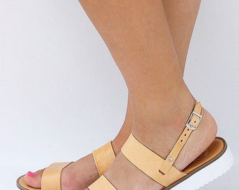 Women Leather Sandals with White Rubber Sole in Natural Tanned Leather