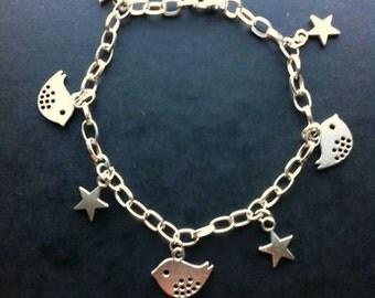 Handmade Dotty Bird Silver Plated Bracelet