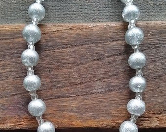 Silver Beaded Necklace, Handmade Necklace-Ready To Ship