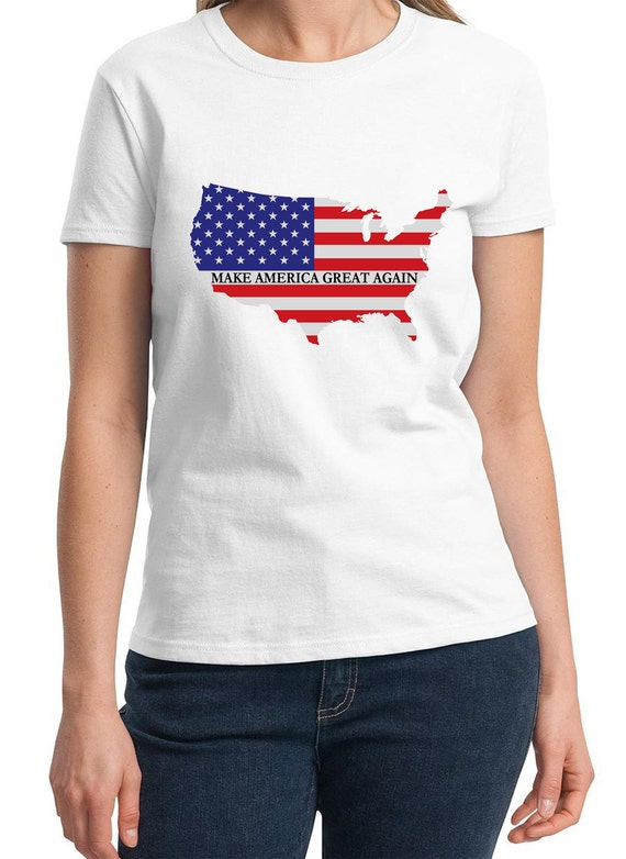 Make America Great Again Ladies White T-shirt (with the US / Flag)