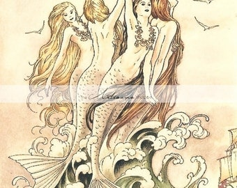 Instant Art Printable Download - Mermaids Art Image Antique Vintage - Paper Crafts Altered Art Scrapbook - Nautical Beach Ocean Fantasy Art