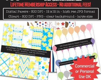 50% OFF SALE 400+ Clipart and Digital Papers Package