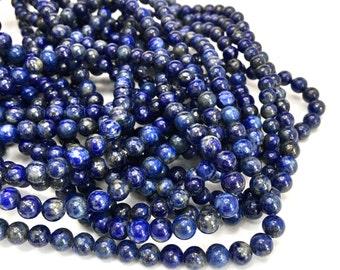 6mm Smooth Lapis Lazuli Genuine Gemstones Full Strand (65 Round beads)