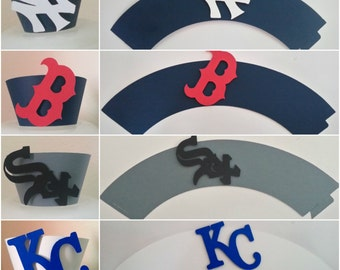 Sports Baseball Cupcake Wrappers Set of 12 - Angels, Astros, Athletics A's, Blue Jays, Rangers, Red Sox, Royals, Tigers, White Sox, Yankees