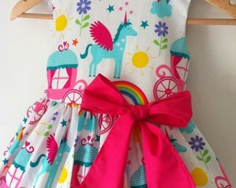 unicorn dress, unicorn dresses, girls party dress, rainbows, kids clothes, unicorns, rainbow, special occassion, summer, princess, fairytale