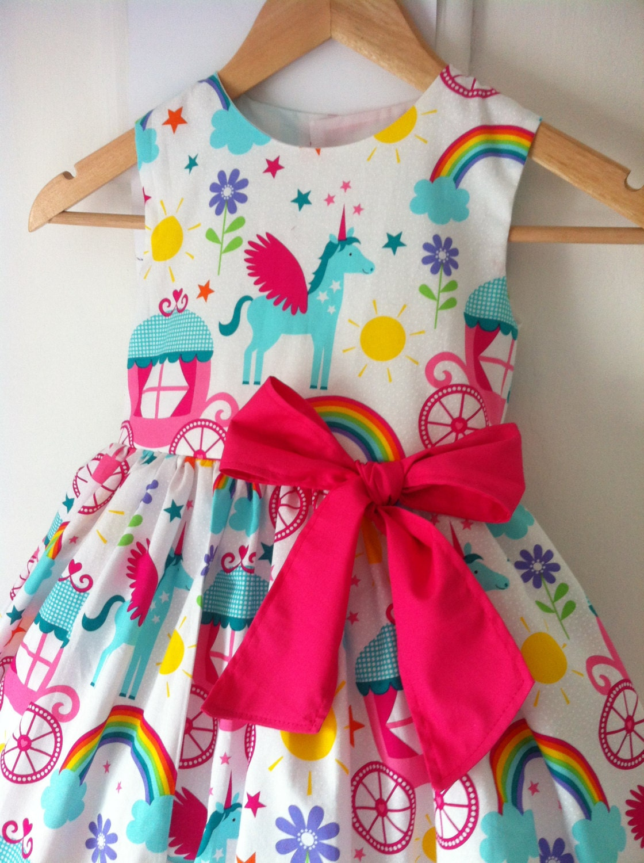 Unicorn Dress Unicorn Dresses Girls Party Dress Rainbows