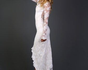 Long Sleeve Wedding Dress French Lace with Chapel Train and Hand-cut Delicate Floral Applique - Julie Dress