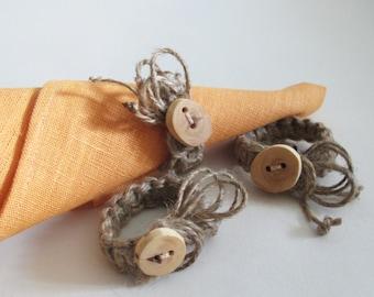 Rustic Napkin Rings, Set of 4 Macrame Napkin Rings