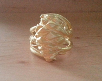 Branches and pinecones ring-gold plated