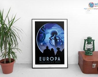 NASA Travel Poster - Europa - JPL / Exoplanet Art / Print. HD Lustre Quality.