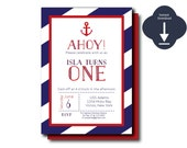 Nautical Birthday Invitation digital template, Nautical Shower Invitation INSTANT DOWNLOAD, Nautical Party, DIY Nautical Background)