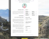 """CV Template   Résumé Template for Word + Cover Letter + Advice   1 & 2 Page CV Templates Included   Instant Download   Mac or PC   """"Compton"""""""