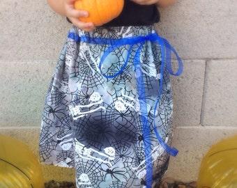 Toddler Halloween Skirt, Toddler Skirt, Halloween Skirt, Girls Halloween Skirt - Skeleton Skirt With Blue Ribbon