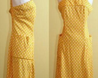 Vintage 1960s D'Allaird's Yellow Polkadot A-Line Dress, Size 4/6