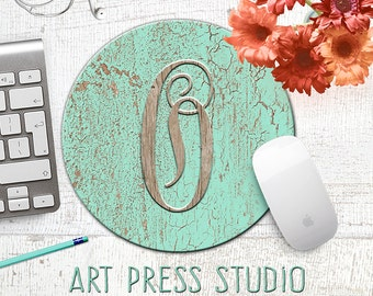 Monogrammed Initial Crackled Wood Mousepad, Distressed Turquoise Wood, Initial Monogram Mouse Pad, Shabby Chic Mousepad, Boho Chic Mouse Pad