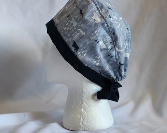 Winter Forest Foxes and Bears Blue Surgical Scrub Cap Chemo Dental Hat