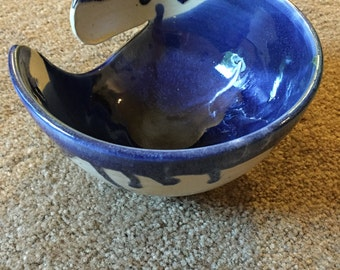Blue and buttermilk knitting bowl