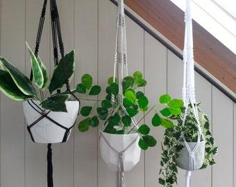 Black, White or Silver Macrame Plant Hanger
