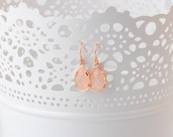 Light Pink Earrings Rose gold Earrings Light Pink and Gold Teardrop Earrings Bridesmaid Earrings Wedding blush pink Earrings