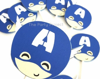 12 Captain America cupcake toppers | Superhero birthday | Comics book baby shower decor | Avengers cupcake picks | Captain America Party!