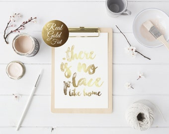 There's No Place Like Home, Real Gold Foil, Nursery Decor, Typographic Print, Word Art, Bedroom Wall Art, Hand Lettering, 8x10 Poster.