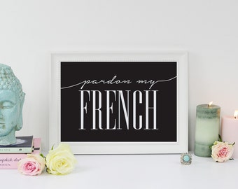 Gratie mijn Frans typografie Poster Home muur Decor, kunst aan de muur, Franse citaat, inspirerende Print, typografie Poster, offerte kunst aan de muur