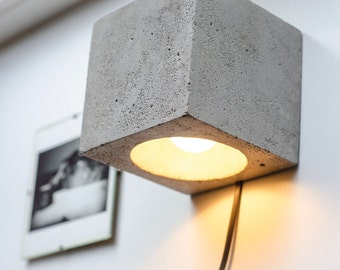 wall lamp dimmer concrete Q#106 handmade. plug in wall lamp. sconce. wall light. concrete lamp. loft. minimalist light. wall lamp. concrete