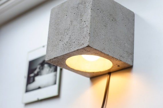 wall lamp dimmer concrete q142 handmade plug in wall lamp. Black Bedroom Furniture Sets. Home Design Ideas