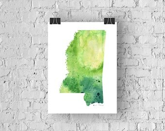 Mississippi Watercolor Map - Giclée Print of Hand Painted Original Art - 5 Colors to Choose From