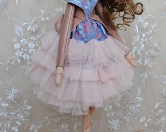 Fabric handmade cloth tutu skirt doll - art doll - ballerina doll - Dana