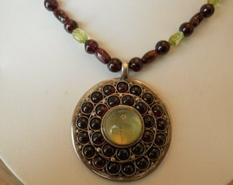 Necklace Sterling Silver, Garnet and Peridot.   Stock #(1018).
