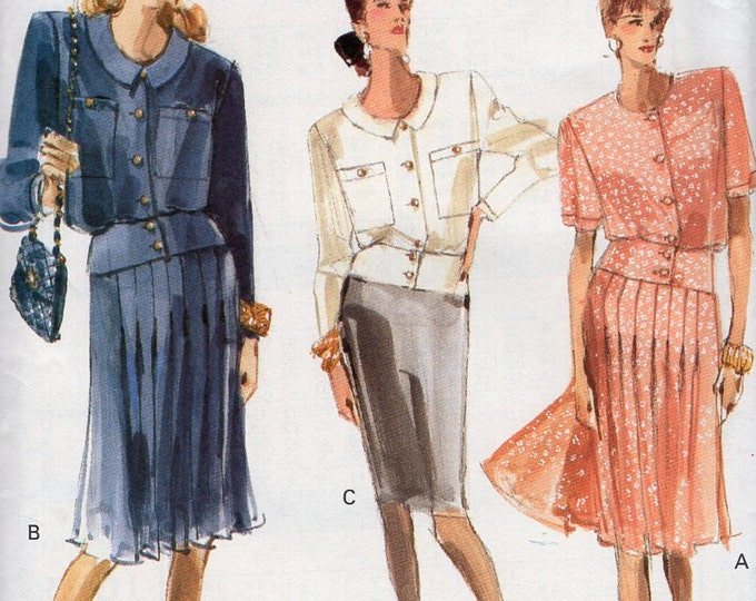 Free Us Ship Sewing Pattern Vogue 7277 Vintage Retro 1980s 80s  Top Skirt Banded Waist Size 6 8 10 12 14 16 Bust 30 31 32 34 36 38 Uncut