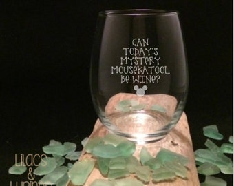 Etched Wine Glass | Can Today's Mystery Mousekatool Be Wine | Etched Stemless Wine Glass Mom Wineglass
